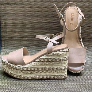 Schutz Platform Sandals Leather/Jute